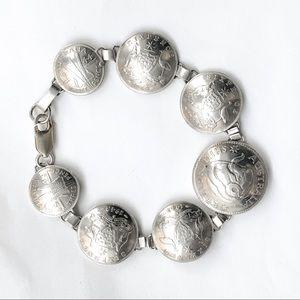 💠 Vintage 925 Silver WW2 Australia Coin Bracelet